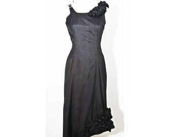 Silk Dress Black Romantic Sexy Fitted Sculptural haute couture Cocktail evening wear - made to Order -
