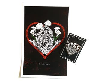 "occult romance valentines day print and 2"" pin set"