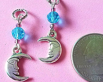 Hearing Aid Charms:  Silver Plated Moons with Glass Accent Beads!  Also available as a matching mother daughter sets!