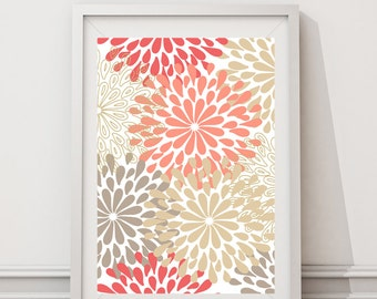 "Modern Flower wall art pattern - coral beige - Colors can be changed!! -Digital Files with Instant Download-Home Decor-8""x10"""
