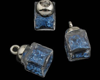 1PC Glass Vial Pendant with glass seeds-7464d