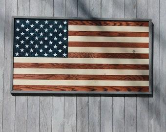 "WOOD FLAG, Large 39""x21"" American Flag, Rustic Flag, Wood American Flag, Rustic Wood Flag, Rustic American Flag"