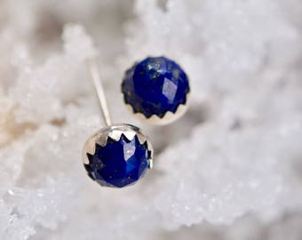 Lapis Lazuli Earrings, Sterling Silver Lapis Stud Earrings, Girlfriend Gift, Sterling Silver, Gemstone Earrings, Rose Cut Lapis, Tiny Studs