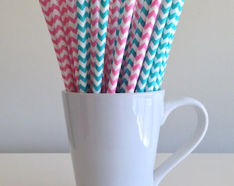 Pink and Blue Chevron Paper Straws Pink and Robins Egg Blue Gender Reveal Party Supplies Party Decor Bar Cart Cake Pop Sticks Graduation