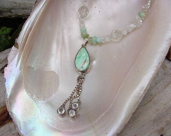 Soft Raindrops Variscite drop Necklace and Earring set  7TU193a