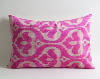 pink ikat pillow, throw pillow, pillow cover, ikat pillow, decorative pillow, pillow, pink pillow, accent pillow, ikat pillow cover, ikat