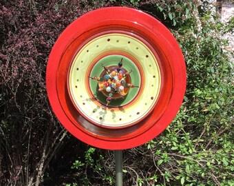 Glass Garden Plate Flower- Red, Amber, Yellow