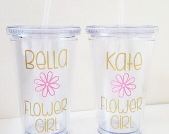 Personalized Flower Girl Tumbler, Flower Girl Gift, Flower Girl Cup