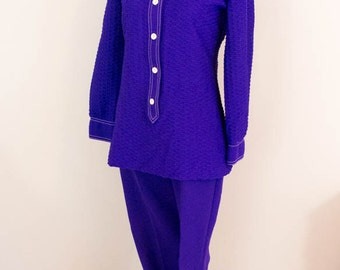 2pc 70s Outfit - S/M- 70s Clothing - Vintage Clothing - Purple Outfit - Retro Clothing - Mrs. Brady - Vintage Pantsuit - 70s Fashion
