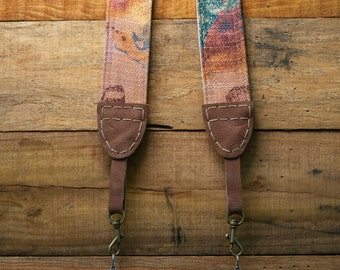 Abstract Art Camera Strap for DSLR & Mirrorless Camera - Hand Made Double Sided Linen/Cotton (One of a kind - Hand stitched) FREE SHIPPING