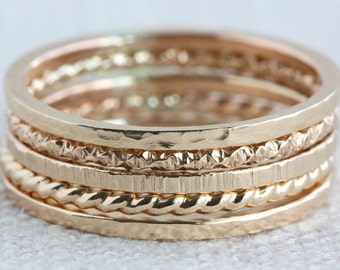 Set of Five 14K Gold-Filled Textured Stack Rings