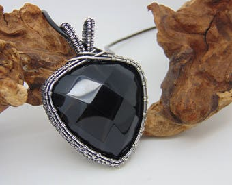 Black Agate Pendant - Wire Wrapped Pendant - Wire Wrapped Jewellery Handmade - Agate Necklace