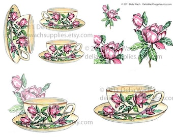 Mid Century Magnolia Tea Cups - Digital Collage Sheet - Printable PDF