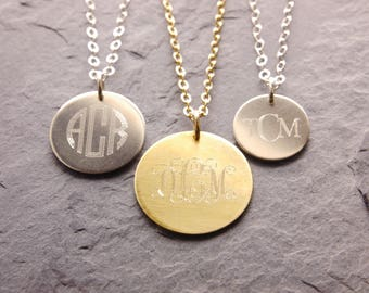 Monogram Necklace, monogram disc, bridesmaid necklace, bridesmaid gifts, double sided engrave, disc necklace, mother of the bride, N17
