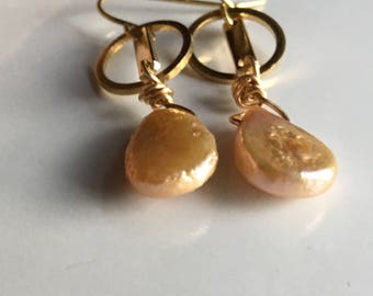 Freahwater Pearl Earrings, Drop Earrings, Dangle Earrings, Brass Hoops, Champagne Pearls, Teardrop Pearls, Etsy, Etsy Jewelry
