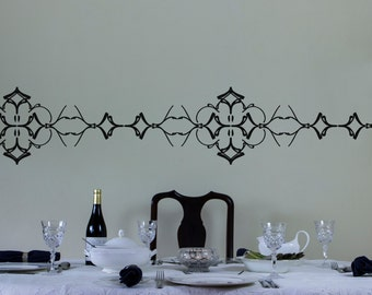 Ornate Vinyl Wall Decal Border for Interior Design