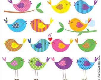 Animal Clip Art Cute Birds - Love Birds, Birds On A Branch, you can make your Sign, Cake Topper, Stickers, Favors - FREE Commercial 10445