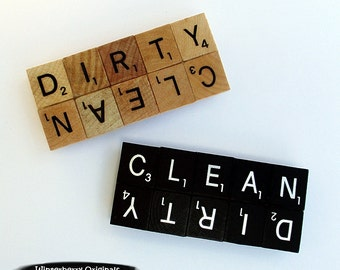 CLEAN/DIRTY Magnet - Handcrafted from Scrabble Tiles - Choice of Black or Woodgrain, dishwasher magnet, dirty or clean magnet, reinforced