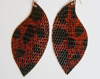 Lizard Leather Earrings