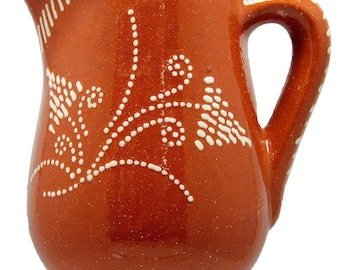Portuguese Glazed Terracotta Clay Hand Painted Wine Pitcher (Food Safe)