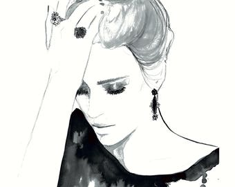 All Shook Up, print from original watercolor and mixed media fashion illustration by Jessica Durrant