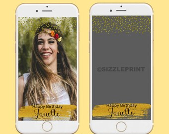 GOLD GEOFILTER  Plus Family & Friends Message   Custom Personalized Snapchat Geofilter   Girl Adult Birthday Party Diamonds Glitter