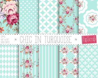 "Shabby chic digital paper : ""Chic in Turquoise"" floral digital paper with shabby roses on blue background, decoupage paper, roses"