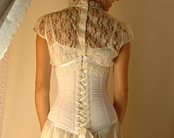 white and ivory underbust corset made to measure