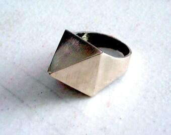 Handmade solid brass square pyramid ring.