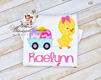 Easter Chick Pulling Wagon with Eggs Outfit - Baby Girl Easter Outfit, Custom, Kids Easter Clothes