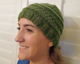 OOAK Green Knit Hat - Knitted with Light and Dark Greens of Acrylic and Wool Yarns - Warm Hand-Knitted Hat, Beanie