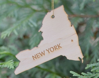 Natural Wood New York State Ornament