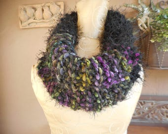 Hand Knit Cowl  Chenille Cowl