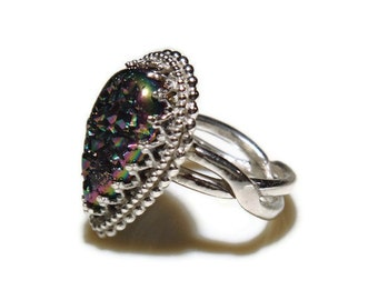 Druzy Filigree Teardrop Ring in Sterling & Peacock Drusy R129