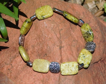 Natural and Silver Tone Bead Stretch Bracelet
