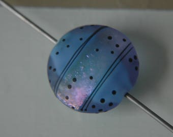 Lampwork Glass Bead Etched Coin Focal