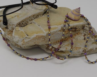 Cream, Blue, Purple, Rose and Gold Beaded Eyeglass Chain