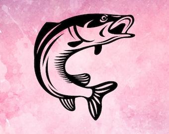 Fishing SVG file,  fish svg, bass Fish SVG, sea Bass SVG, Bass Fish Cut File for Cricut, Fishing Clipart, Fish Clipart, Fisherman Svg file