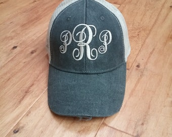 Trucker Hat - Baseball Hat with monogram - distressed with tan mesh back - 12 hat colors