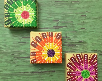 """ABSTRACT FLOWERS - set of 3 minis - Original Acrylic Painting - 3"""" X 3"""" x 1.5"""""""