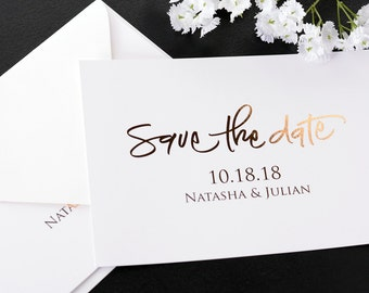 Metallic Foil Save the Date Cards - Beautiful Gold Foil Save the Dates - Wedding Announcement Cards - Metallic Wedding Cards