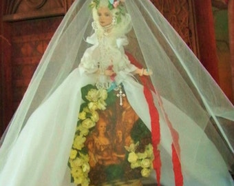 Sold, Marie Antoinette Paper Doll Ribbon Art Wood Hand Painted Contact Me To Order!