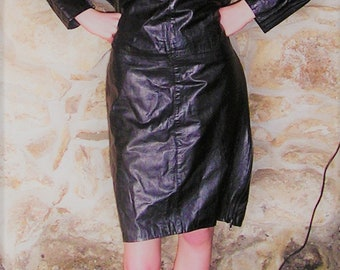 Vintage soft leather Batwing Dress