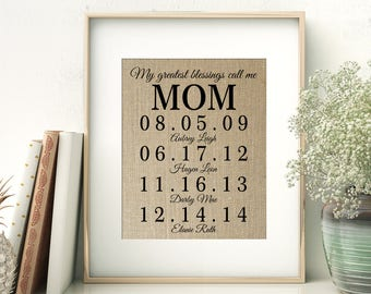 Personalized Gift for MOM   Mother's Day Gift from Kids   Children's Birth Dates Sign   Mother of the Bride Gift   Birthday Gift for Mom