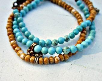 Ensemble de bracelets de trois bleu et Tan perles Bracelets Fermoir: Alger