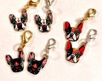 French Bulldog Charm, French Bulldog Clip, Frenchie Clip, Frenchie Charm, Frenchie Zipper, Dog Charm, Frenchie Gift, Frenchie Keyring