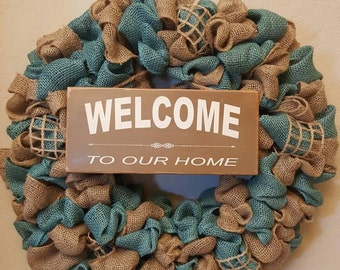 Welcome to our Home teal and tan