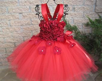 RED FLOWERS - TUTU Dress - Red Tutu Dress - Flower Girl Gown - Pageant Girl Dress -  Red Party Tutu Dress -  Baptism Gown - Wedding Dress -