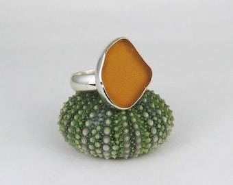 Honey Amber Sea Glass Bezel Ring Maine Size 10.25