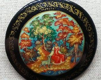 Vintage Russian Folk Art Brooch, Hand Painted Black Lacquer Pin, Vintage Jewelry, Gifts, Christmas Gift Idea, Gift for Her